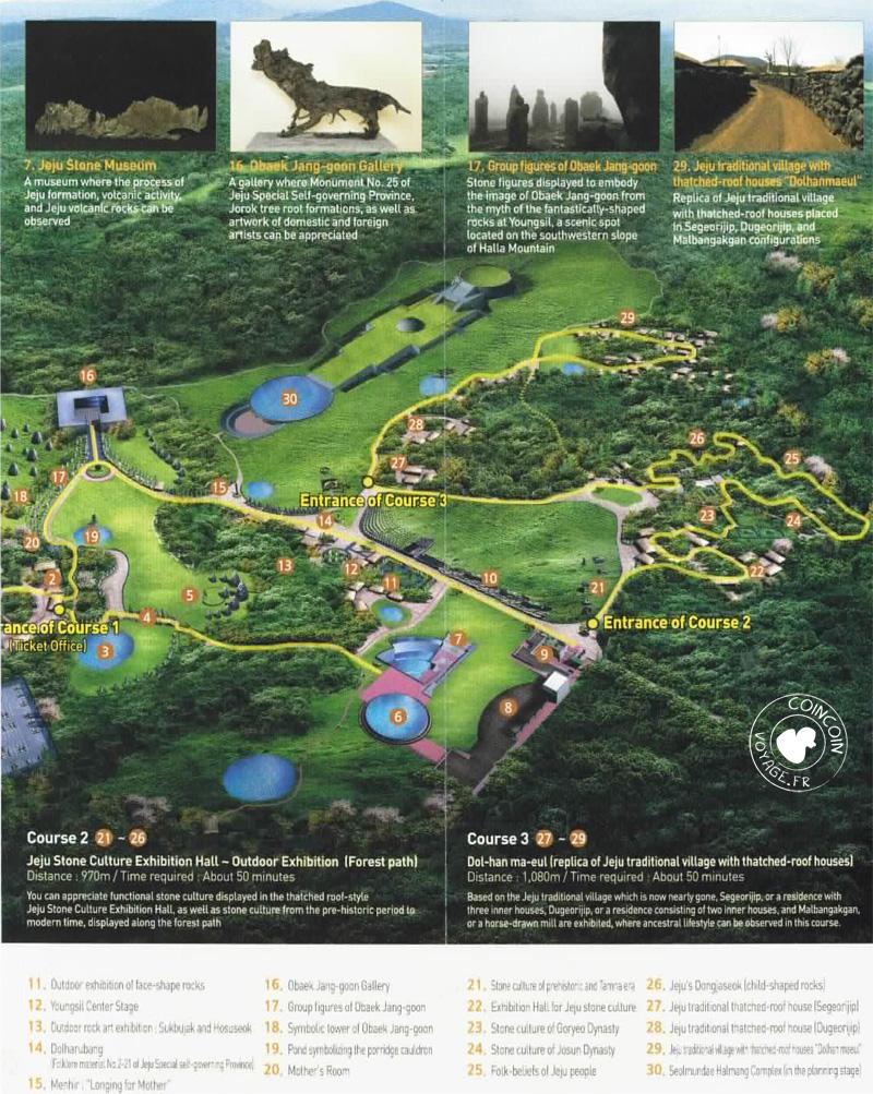 Prospectus du parc Jeju Stone - trajet