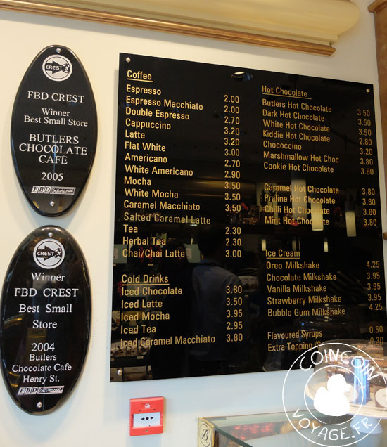 butlers chocolate menu dublin irlande