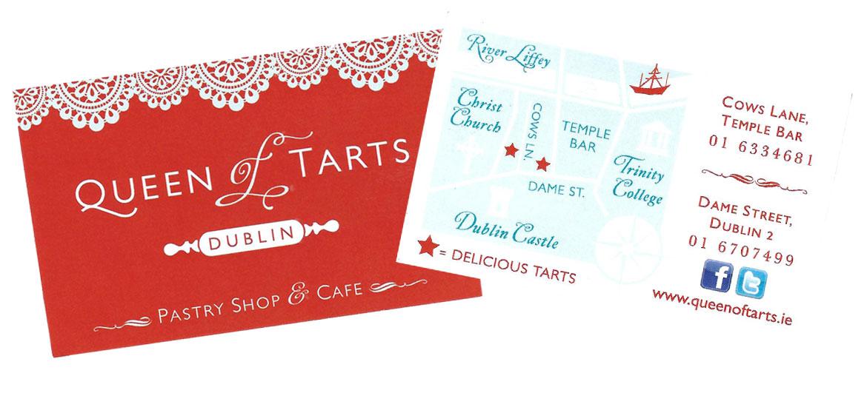carte visite queen tarts pastry shop
