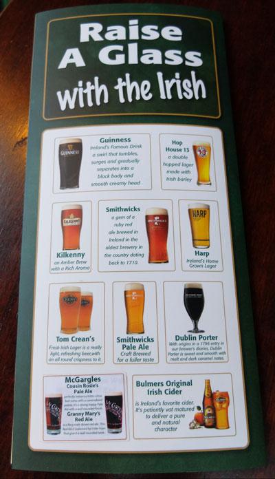 menu bier brazen head irlande